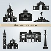 picture of messina  - Messina landmarks and monuments isolated on blue background in editable vector file - JPG
