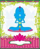 pic of padmasana  - Yoga woman silhouette in lotus pose - JPG