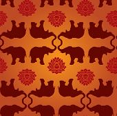 image of indian elephant  - Oriental elephant and lotus flower seamless wallpaper - JPG