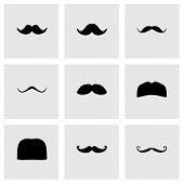 foto of rogue  - Vector moustaches icon set on grey background - JPG