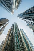 foto of skyscrapers  - Tall Dubai Marina skyscrapers in UAE - JPG