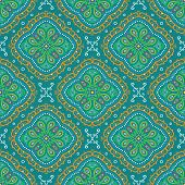pic of east-indian  - Vector bright seamless indian pattern paisley mandala on turquoise - JPG