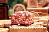 picture of casket  - vintage wooden casket with carved floral ornament  - JPG