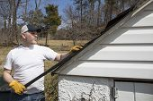 image of shingles  - Man taking shingles off a shed roof - JPG