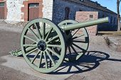 stock photo of cannon  - Antique cannon in Lappeenranta at sunny spring day Finland - JPG