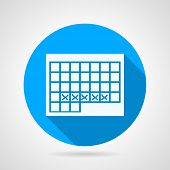 pic of personal care  - Flat blue round vector icon with white silhouette calendar for menstrual period on gray background - JPG