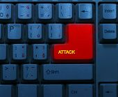 foto of terrorism  - Dirty blue keyboard with red notice Attack - JPG