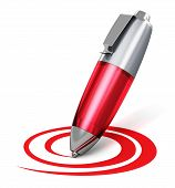 stock photo of ballpoint  - Red metal ballpoint pen drawing circular curved shape isolated on white background - JPG
