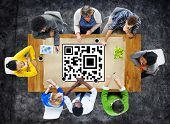 picture of qr-code  - QR Code Encoding Coding Quick Response Concept - JPG
