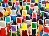 pic of gathering  - Social Gathering Digital Tablet Communication Society Concept - JPG