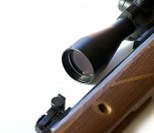stock photo of rifle  - Modern military sniper rifle isolated on white - JPG