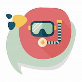 stock photo of rubber mask  - Mask And Snorkel Flat Icon With Long Shadow - JPG