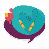 stock photo of skipping rope  - Skipping Rope Flat Icon With Long Shadow - JPG
