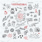 stock photo of isis  - Hand Drawn terrorism doodles on crumpled paper vector - JPG