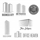 Set of logo and sticker, emblem, label and logotype elements for building company or business poster