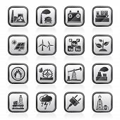 stock photo of electricity  - Electricity and Energy source icons  - JPG