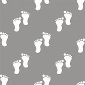 foto of webbed feet white  - Tracks white and black seamless pattern for web design - JPG