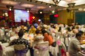 picture of banquet  - Abstract of blurred people sitting in banquet hall - JPG