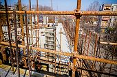 picture of scaffold  - View from above on construction site with rod and scaffold - JPG