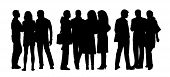 pic of ordinary woman  - black silhouettes of three groups of different men and women standing and talking to each other - JPG