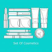 stock photo of lipstick  - vector set of decorative cosmetics lipstick - JPG