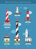 stock photo of lighthouse  - Real lighthouses vector infographics  on blue background - JPG