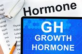 picture of hormones  - Papers with hormones list and tablet  with words growth hormone  - JPG