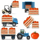 foto of tractor trailer  - Vector Agricultural Icons Set 2 including tomato - JPG