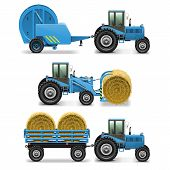 stock photo of haystack  - Vector Agricultural Tractor Set 5 including tractor - JPG