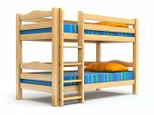 stock photo of bunk-bed  - Wooden kids bunk bed on white background  - JPG