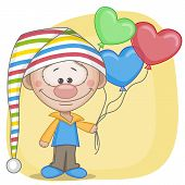 stock photo of gnome  - Gnome and balloons on a yellow background - JPG