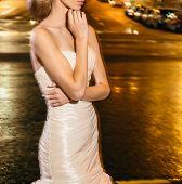 foto of night gown  - Beautiful bride on street in the night - JPG