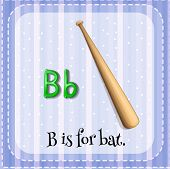 picture of letter b  - Flashcard letter B is for bat - JPG