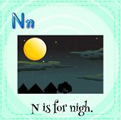 stock photo of letter n  - Flashcard letter N is for night - JPG