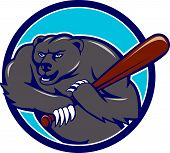 picture of baseball bat  - Illustration of a grizzly bear baseball player holding bat batting viewed from front set inside circle on isolated background done in cartoon style - JPG