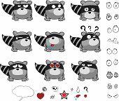 pic of raccoon  - little raccoon cartoon set in vector format very easy to edit - JPG