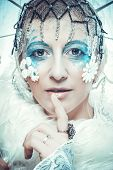 foto of snow queen  - Snow Queen over white background - JPG