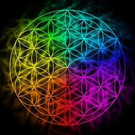 picture of merkaba  - Rainbow flower of life with aura  - JPG