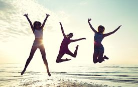 foto of jumping  - friendship - JPG