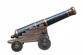 stock photo of cannon  - Imitation of old cannon isolated on white background - JPG