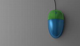 foto of fancy mouse  - Blue and green computer mouse on gray background top view with copy space - JPG