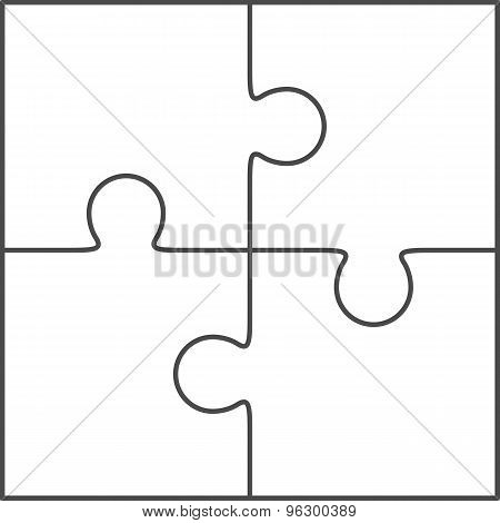 Jigsaw Puzzle Blank Vector 2x2 Four Pieces Poster