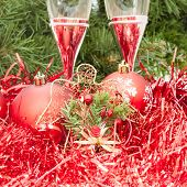 image of sparkling wine  - Christmas still life  - JPG