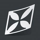 stock photo of maltese-cross  - White sticker with black image of maltese cross - JPG