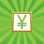 picture of yen  - Yen symbol in golden frame - JPG