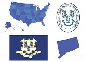 pic of usa map  - Vector illustration of state Connecticut, contains: High detailed map of USA High detailed flag of state Connecticut High detailed great seal of state Connecticut Connecticut state, shape - JPG