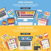 Web design, logo design flat illustration banners concepts set. Top view poster