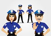 pic of policeman  - portrait of confident policeman showing stop gesture and policewoman with hands on hips - JPG