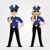 foto of policeman  - portrait of confident policeman and policewoman showing stop gesture - JPG