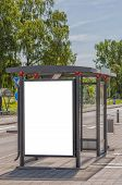 pic of bus-shelter  - An image of a bus stop with a blank bilboard for your advertising situated in the swedish city of Angelholm - JPG